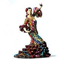 Figura de una Flamenca con Castañuelas y un Vestido Multicolor en Mosaico de la Colección Carnival