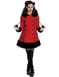 HELL BUNNY Rouge SARAH JANE Manteau d'hiver Long en fausse fourrure pour femme Toutes tailles