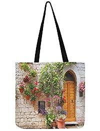 Bolso bandolera de lona con diseño de flores fuera de casa en la colina italiana para