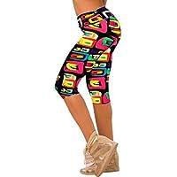 Impreso Stretch Leggings yoga Sannysis Pantalones pirata para mujer deporte (03, M)