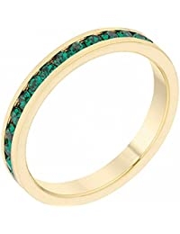 ISADY - Claire Gold Emeraude - Women's Ring - Alliance - Cubic Zirconia Green