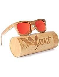 Ynport Crefreak Lunettes de Soleil Classique en Bambou carbonisé pour Homme Femme  Monture complète, 086d122c4990