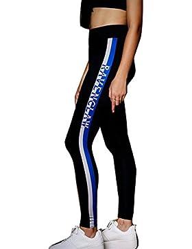 Pantalones Largo para Mujer, Moda Cintura Alta Carta Impresa Slim Fit Pantalon Cómodo Cintura Elástica Pantalones...