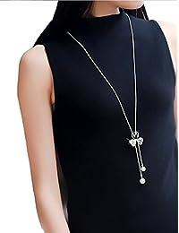 Hosaire Collar de mujer Collar de aleación chapado afortunado colgante de trébol pendiente Collar de cadena larga cadena de joyería (plata)