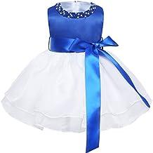 iEFiEL Vestido Bautizo Boda Fiesta Bebé Vestido de Princesa Regalo para Recién Nacido Bebe con Perlas