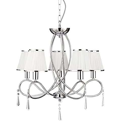 5 LIGHT CHROME CEILING WITH GLASS DROPS AND WHITE FABRIC STRING SHADES WITH CHROME TRIM