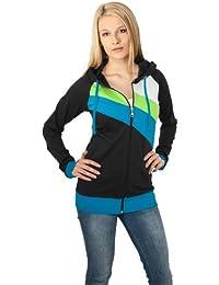 URBAN CLASSICS Ladies Jers Ziphoody TB467 black/turquoise/limegreen XL
