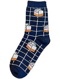 Xuniu Calcetines de Mujer, Caja de Leche Estampado de algodón Largo Calcetines Cuadros Cheques a