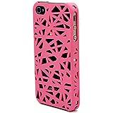 iPhone 4S Funda, iPhone 4 Carcasa, Hamyi Nido de pájaros Diseño Hueco Estuche de Plástico duro para Apple iPhone 4 e iPhone 4S (Rosa Oscuro)