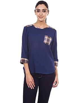 9teenagain Azul marino señoras 3/4 mangas superior ocasional de la túnica de algodón - Tamaño disponible