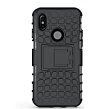 Mi Xiaomi Redmi Note 5 Pro Dual Layer Tough Rugged Shockproof Hybrid Warrior Armor with Kickstand(Black) Cases & Covers at amazon