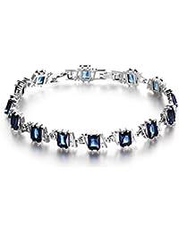 OPK joyería macrocito corte de la princesa zafiro azul/diamante negro tenis chapado en oro blanco para mujer pulsera de eslabones