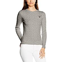 Gant Women's Stretch Cotton Cable Crew, Suéter Para Mujer