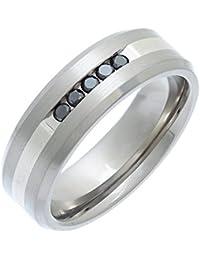 Theia Ring Titan und Silber Inlay Flach Court 0.15ct Diamant Matt