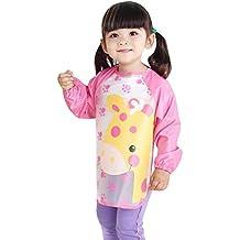 Happy Cherry Impermeable Infantil Blusón Delantal Babero de Mangas Larga Protección de Ropita para Bebés Niños
