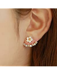 Estilo coreano Cute Oro/Plata Crystal Flower Oreja Piercings Pendientes Mujeres Rhinestone Earings Fashion Jewelry