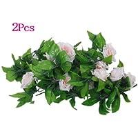 artificiale ghirlanda rosa - SODIAL(R) 2 x Rose artificiale ghirlande di nozze / giardino / decorazione di interni - verde e rosa