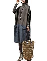 Vogstyle Femme Pull Bicolore Manches Longues Vintage Fluide Grandes Poches en Coton