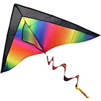 BESTOYARD Rainbow Kite for Kids and Adults Easy Flyer Kite for Outdoor Games Activities with String