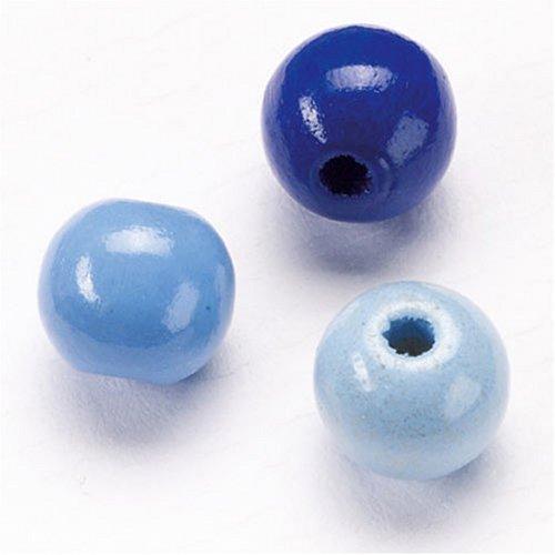 KnorrPrandell 216028340 Holzperlen, 8 mm Durchmesser, blau-mix
