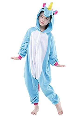 ABYED® Jumpsuit Tier Karton Fasching Halloween Kostüm Sleepsuit Cosplay Fleece-Overall Pyjama Schlafanzug Erwachsene Unisex Lounge,Kinder Größe 105 - für Größe: 116-125cm 2016 Blaue (2017 Halloween Erwachsene Kostüme)