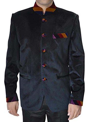 Velvet Smoking-hose (INMONARCH Mens Black Velvet 2 Pc Nehru Anzug Designer NS145XL54 64 Extralang or 7XL (Höhe 190 cm + Oben) Schwarz)