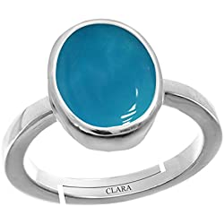 Clara Turquoise Firoza 5.5cts or 6.25ratti stone 92.5 Sterling Silver Adjustable Ring For WOMEN