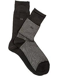 Calvin Klein 2er Pack Herren Socken Cotton Flat Knit Stripe 2 Paar - Schwarz