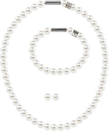 petra kupfer 3er Schmuckset Perlenkette Medium mit original Swarovski ® Perlen 8mm, Farbe:White Pearl -