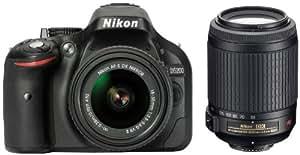 Nikon D5200 SLR-Digitalkamera (24,1 Megapixel, 7,6 cm (3 Zoll) TFT-Display, Full HD, HDMI) Double Zoom Kit inkl. 18-55 VR II und 55-200 VR Objektiv schwarz