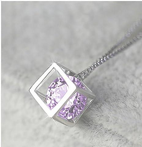 Acheter 2 et obtenir 1 gratuit! Cube Pandora Box Silver Style collier pendentif diamant Bijoux Vintage Ladies (Silver )