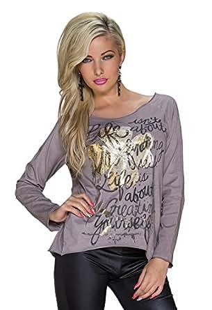 1000 Fashion4Young Damen Legere geschnittenes Langarm-Shirt Pullover Pulli Gr. 36/38 verfügbar in 2 Farben (36/38, Cinder)