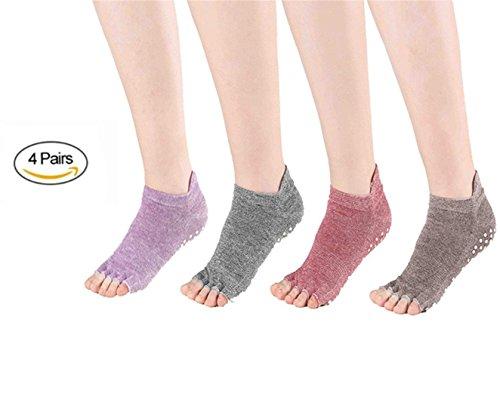 SANIQUEEN.G 4 Pares Algodón Full Toe Non Slip Skid Yoga Calcetines con Dedos Pilates para Mujeres (Estilo 2)