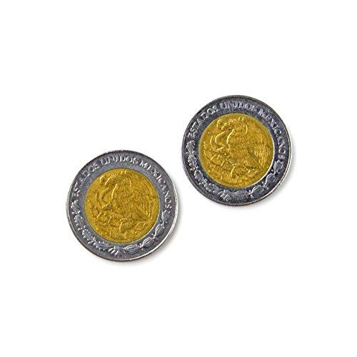 Mexiko Peso Münze Manschettenknöpfe, Hochzeiten, Klöppelzubehör, Groomsmen Geschenkidee, Geschenke für Jungs, Geschenk-Box enthalten (Mexiko Peso)
