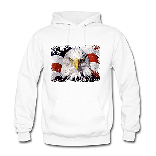 Men Unisex Hoodie Sweatshirt printed American Eagle Flag White XXL (Sweatshirt Italienisch-flag)