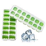 Prevently 2 Stück Eiswürfelform, eiswürfelbehälter,Silikon Eiswuerfel Form Eiswuerfelbehaelter mit Deckel Ice Tray Ice Cube 14-Fach, Kühl Aufbewahren