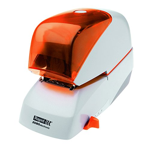 Rapid Elektro-Flachheftgerät, 80 Blatt, Kunststoff, Metall, Elektronik, Kassettenaustausch, Inkl. einer Kassette mit 5000 Klammern, 5080e, Silber/Orange, 20993411