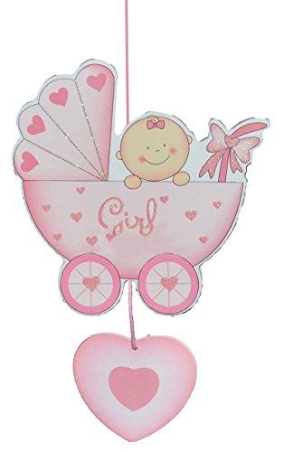 Türschild / Wandbild / Deko Hänger – Baby im Kinderwagen rosa – HOLZ – selbstklebend – Kinderzimmer Deko Bilder Mädchen zur Geburt Babys Neugeboren