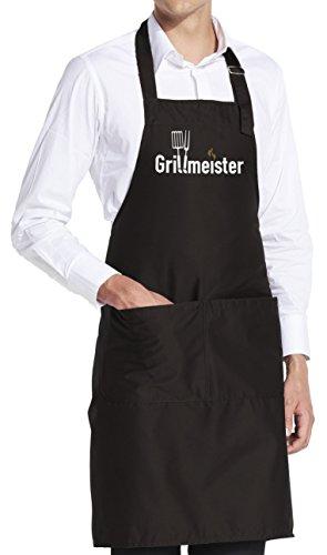 vanVerden Schürze Grillmeister BBQ Grill Garten Fun Grillschürze inkl. Geschenkkarte, Farbe:Black (Schwarz)