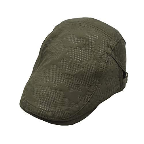 Neue Männer Baumwolle verstellbare Flache Kappe Gesteppte Mesh Entenschnabel Zeitungsjunge Gatsby Irish Summer Hat Hut (Color : ArmyGreen, Size : M) Irish Mesh-hut