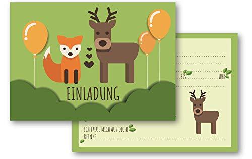 MOZTEC 12 Einladungskarten im Vintage Style Fuchs und Hirsch / REH für den Kindergeburtstag für Jungen und Mädchen; Taufe, Kommunion