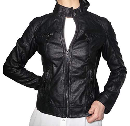 Chiodo giacca giacchetto giubbino giubbotto finta pelle ecopelle corto slim avvitato aderente skin donna ragazza (56 it donna)