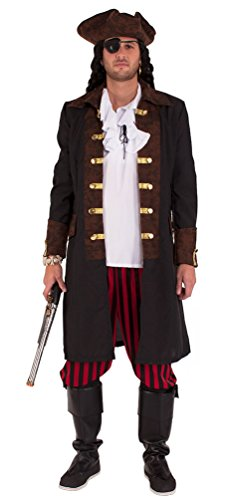 Karneval Klamotten' Piraten-Kostüm Herren Kostüm Pirat Kapitän Komplett-Kostüm Piraten-Mantel Herren inkl. Hose, Piraten-Hut Abenteuer Herrenkostüm Größe - Sparrow Piratenhut Jack