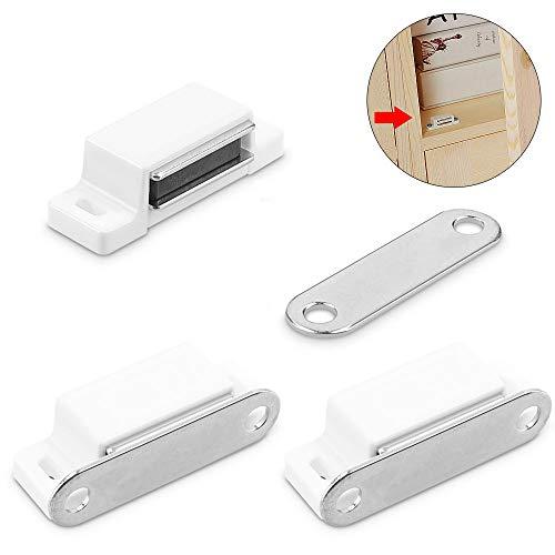 NAHUAA 3 Stück Magnetverschluss Magnetschnäpper Schrank Magnet Haltekraft 13kg Türmagnet Möbelmagnet Schrankmagnet für Schranktür Magnet Türschließer Tür Möbel Weiß -
