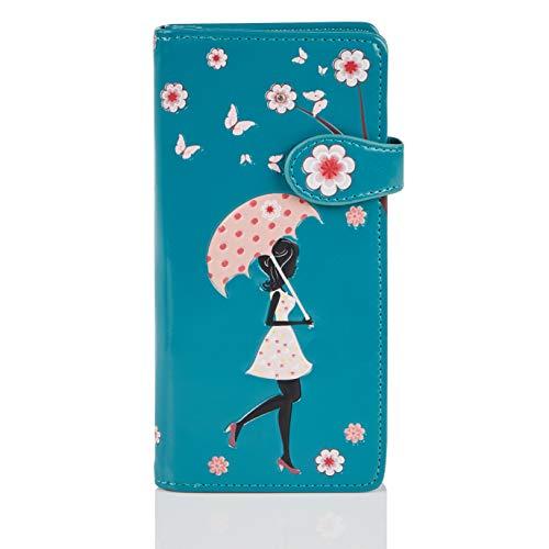 Shagwear Junge-Damen Geldbörse, Large Purse Designs: (Blütenregen Türkis/Blossom Shower)