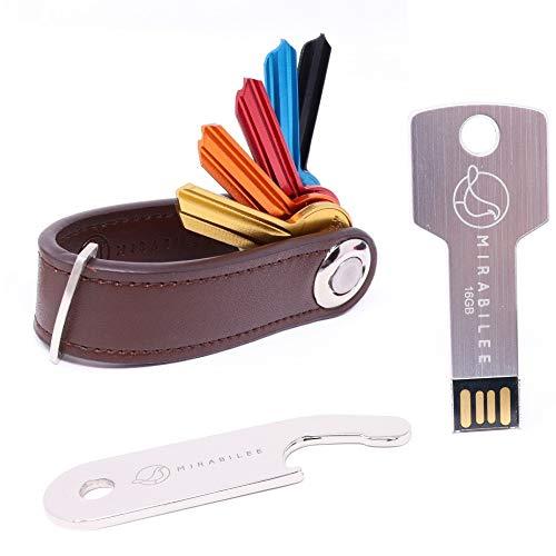 Schlüssel-Organizer, Schlüsselanhänger, 3-in-1-Set, hochwertig, stilvoll und robust, aus echtem Leder, kompakter Schlüsselhalter + Schlanker 16 GB Aluminium USB-Stick + Flaschenöffner - Usb-laufwerk Schlüsselbund