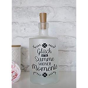 """Leuchtflasche, Flaschenlicht, bottle light""""Glück ist die Summe schöner Momente"""" mit Korken Lichterkette"""