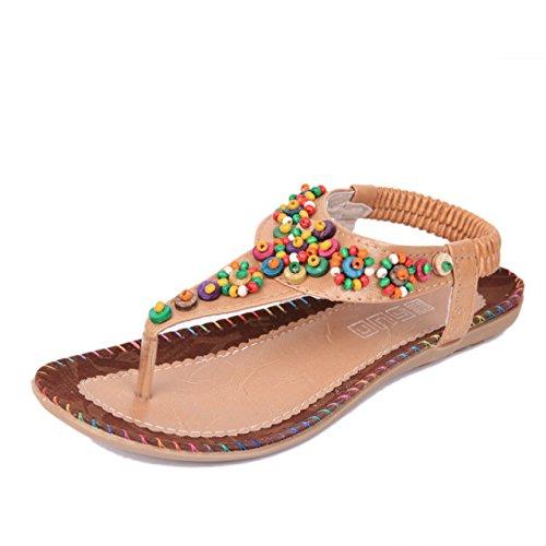 Sweet Agate Beaded Flat Top Herringbone Pin Comfortable Toe Clip Coréen Coréen Style Wind Sandals Femme Khaki