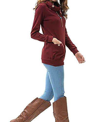 Donna Autunno Maglie a Manica Lunga Sweatshirt Felpe Tumblr Ragazza Magliette Jumper Pullover Felpe Con Cappuccio Top Vino rosso