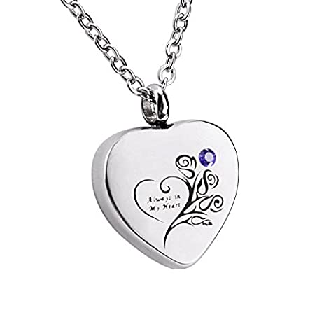 VALYRIA Personalised Engraved Cremation Memorial Necklace Silver Family Pendant Heart Ashes Keepsake With Birthstones 1